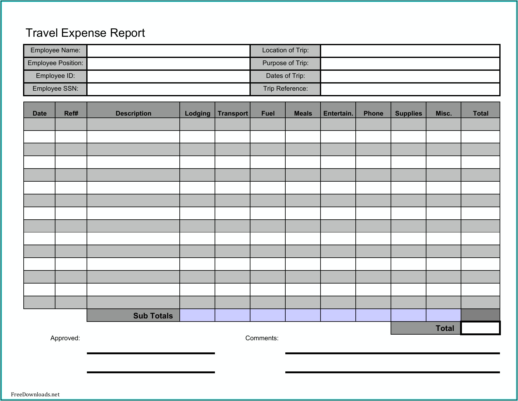 Business Expenses Forms Free