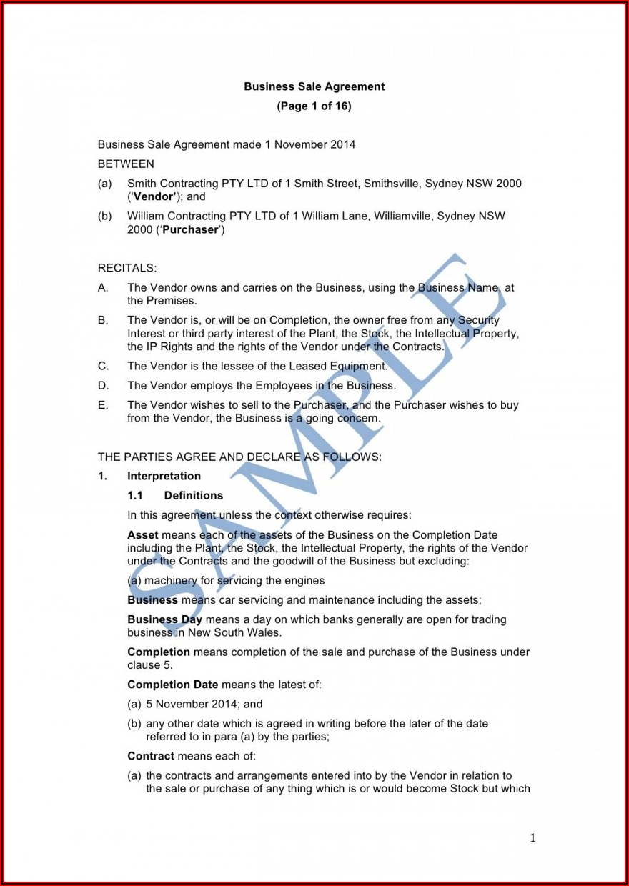 Business Purchase Agreement Template Free Uk