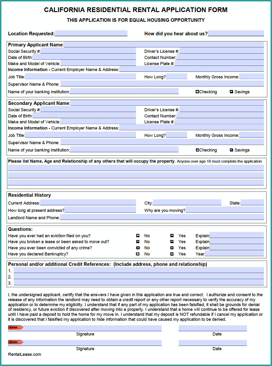 California Rental Application Form Pdf Free