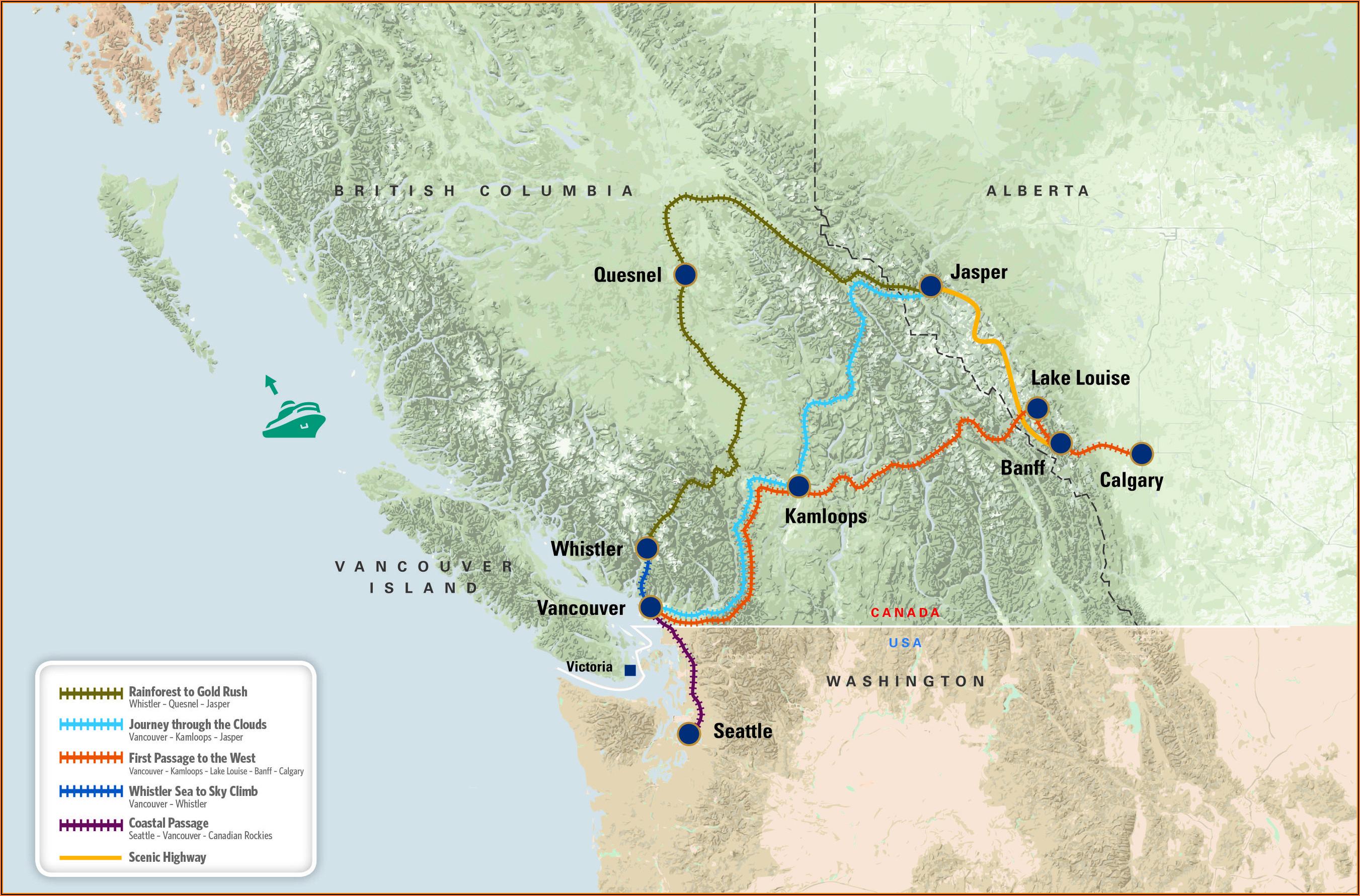 Canadian Rockies Train Map