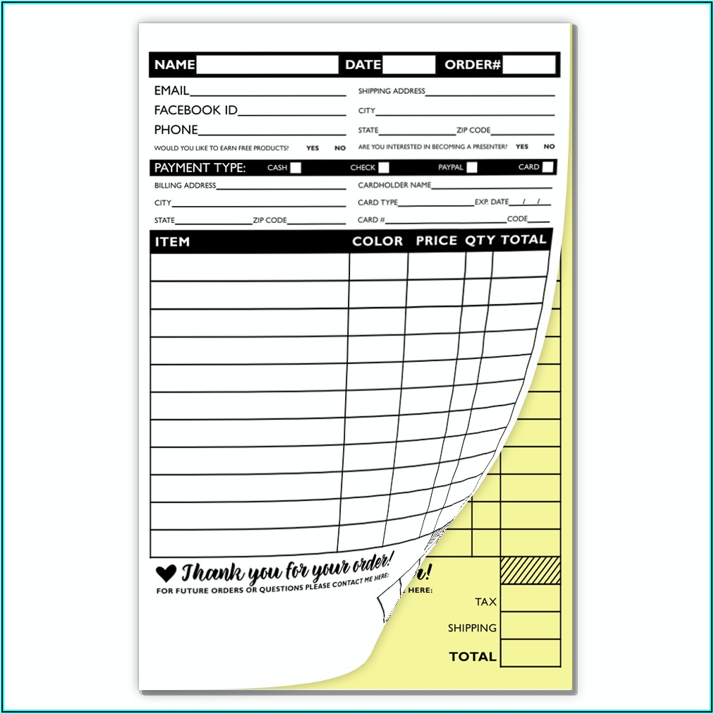 Carbonless Order Forms