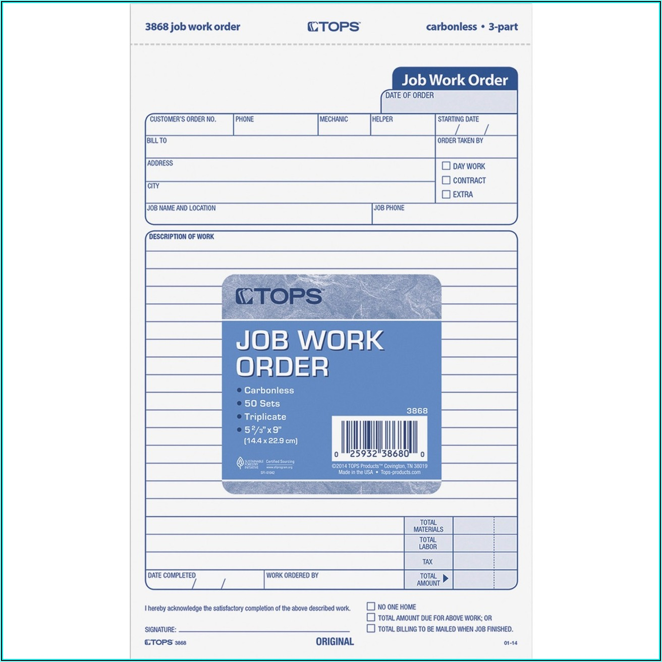 Carbonless Work Order Forms