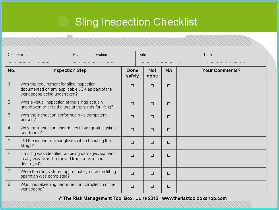 Chain Sling Inspection Form