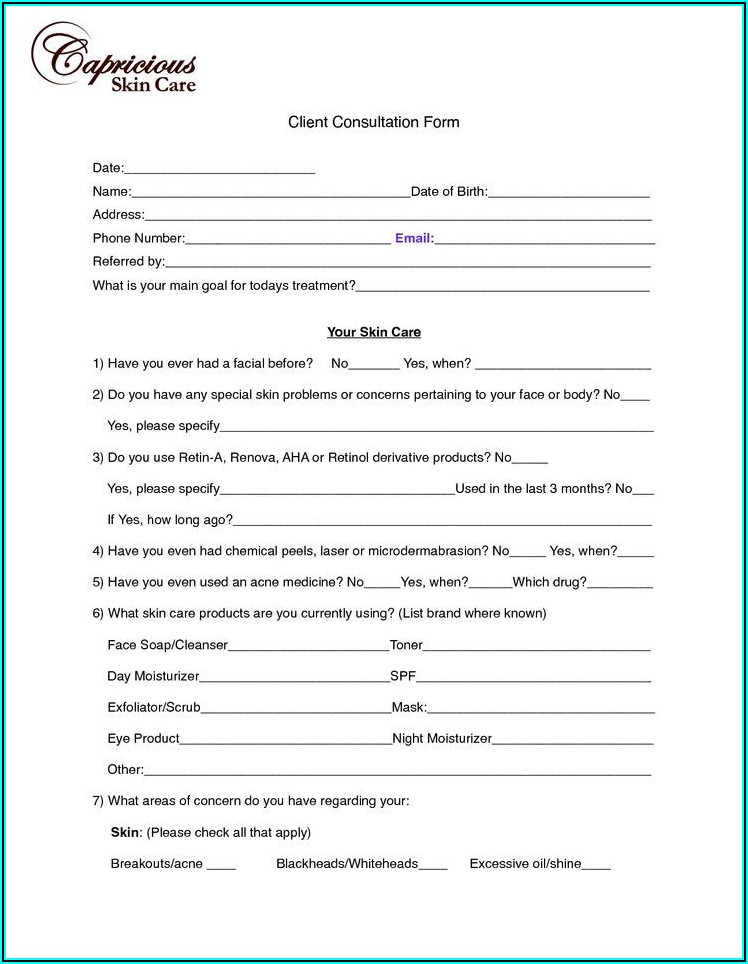 Client Intake Form Cosmetology Definition
