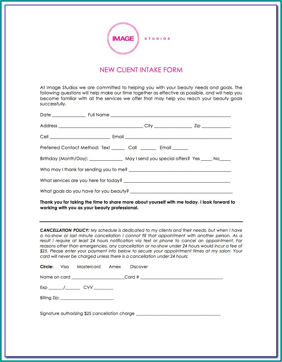 Client Intake Form Cosmetology