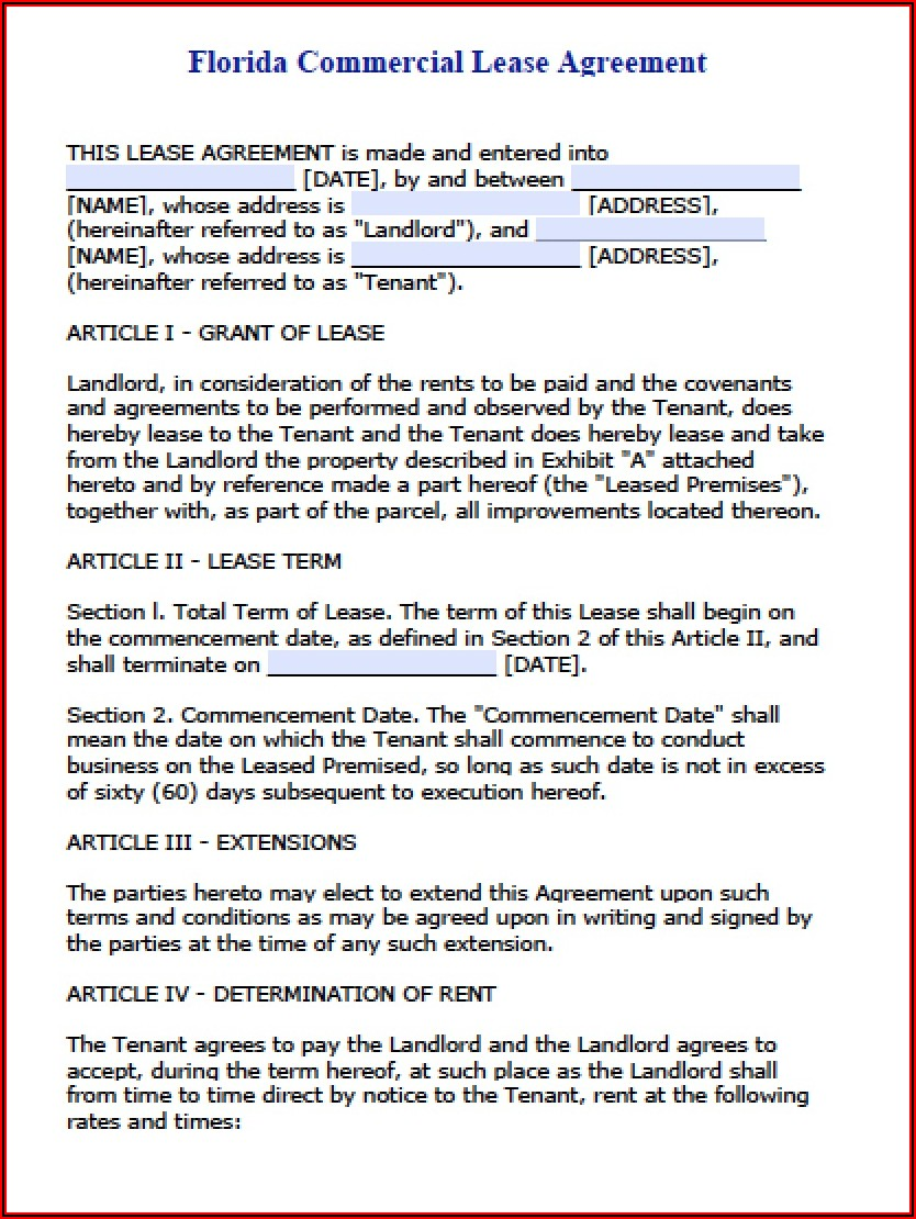 Commercial Lease Agreement Template Doc