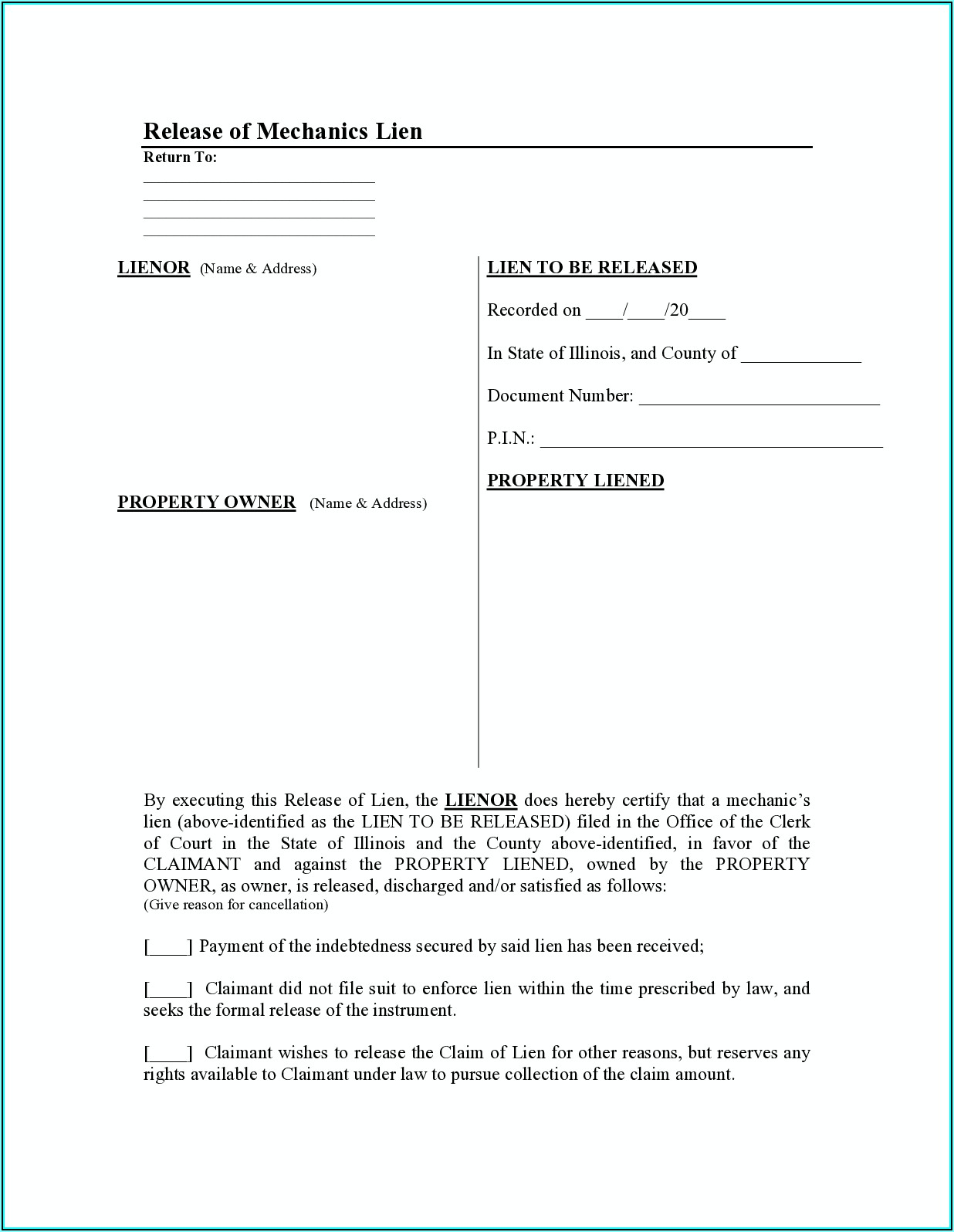 Construction Lien Waiver Form Illinois