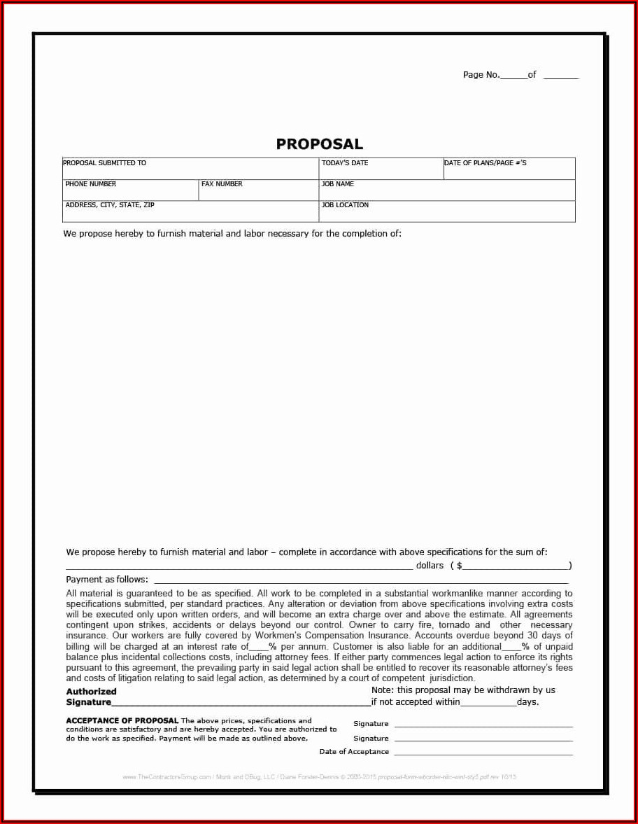 Contractor Bid Proposal Template Free