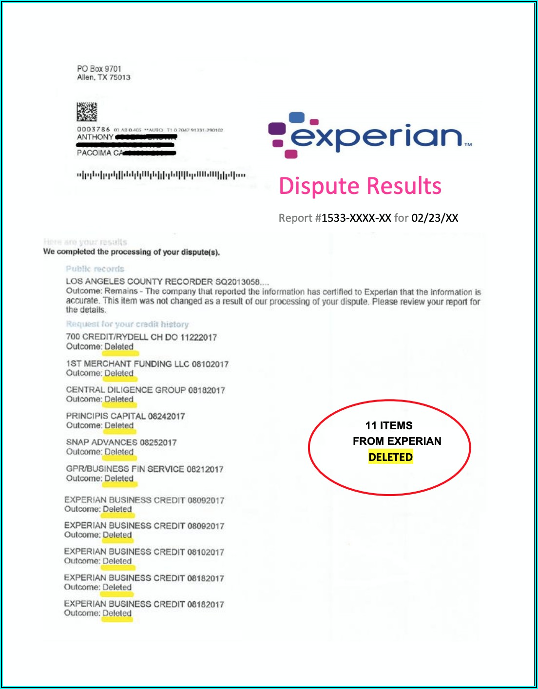 Credit Dispute Form For Experian