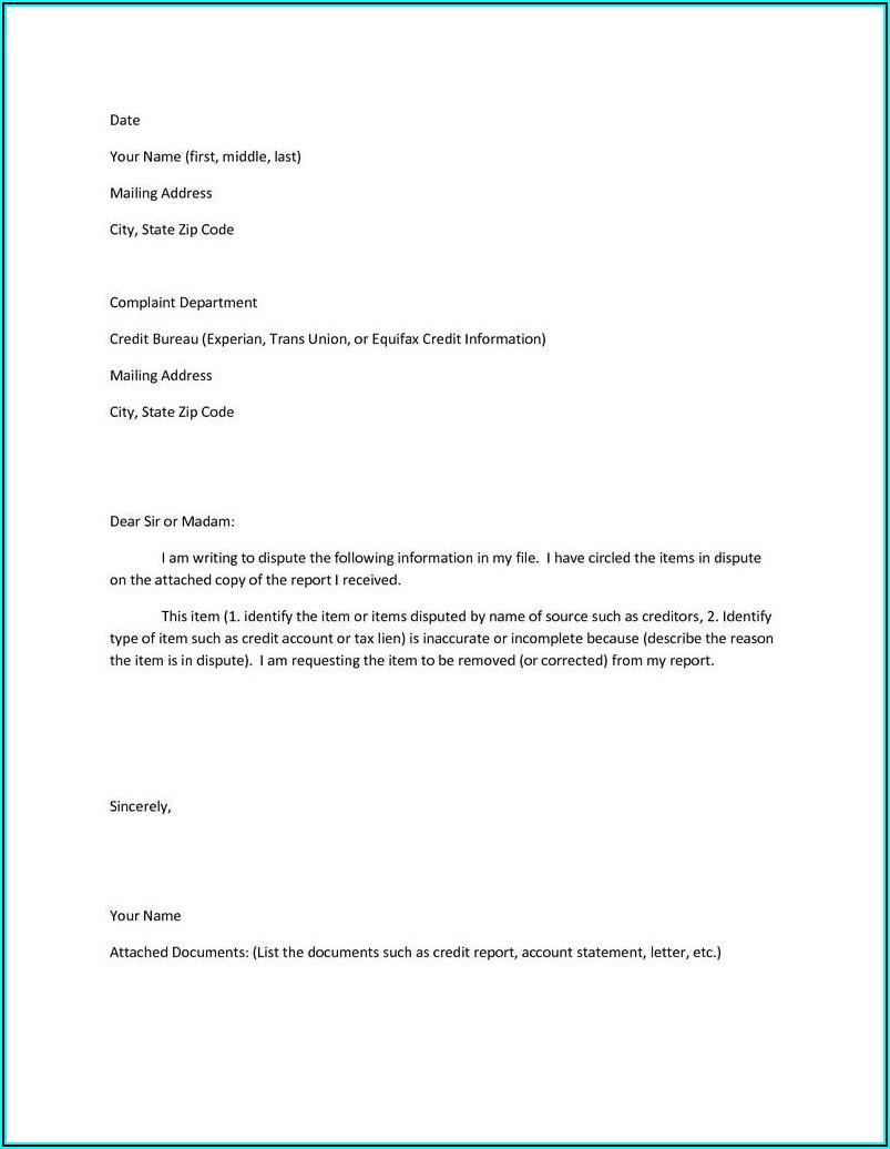 Credit Dispute Form For Transunion