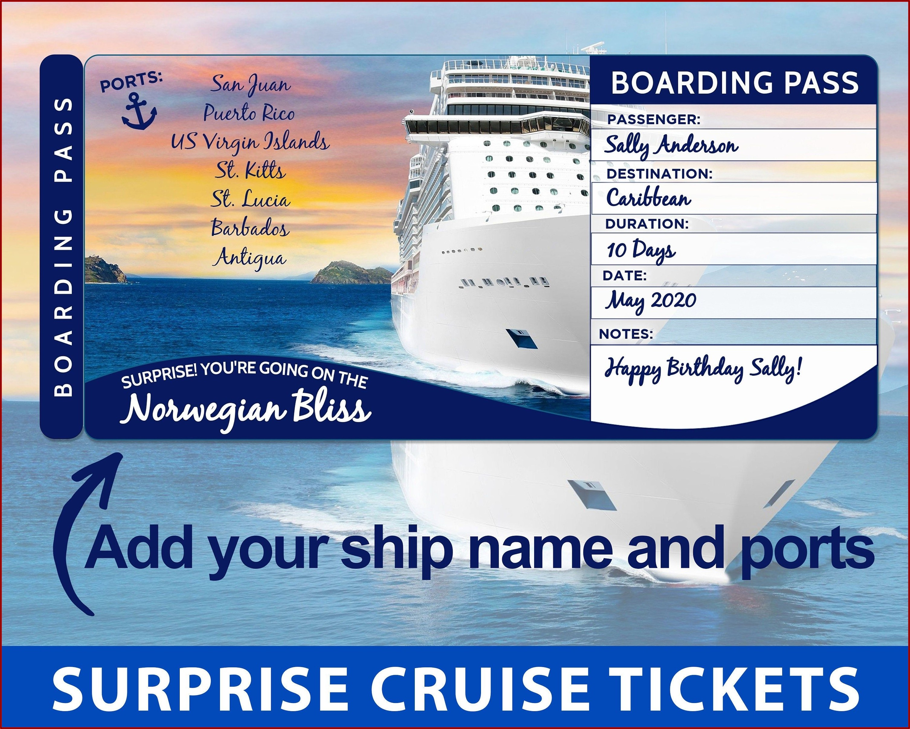 Cruise Ticket Template