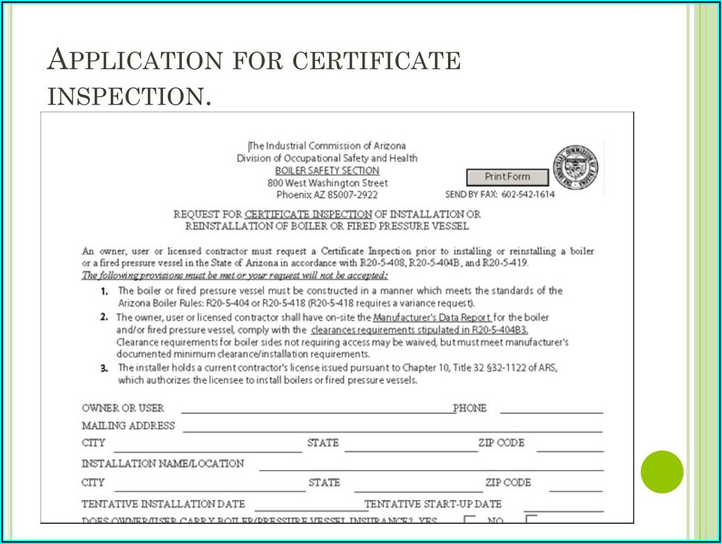 Csd 1 Boiler Inspection Form