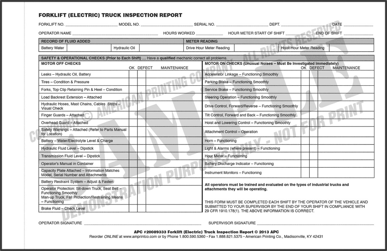 Daily Forklift Inspection Form Free