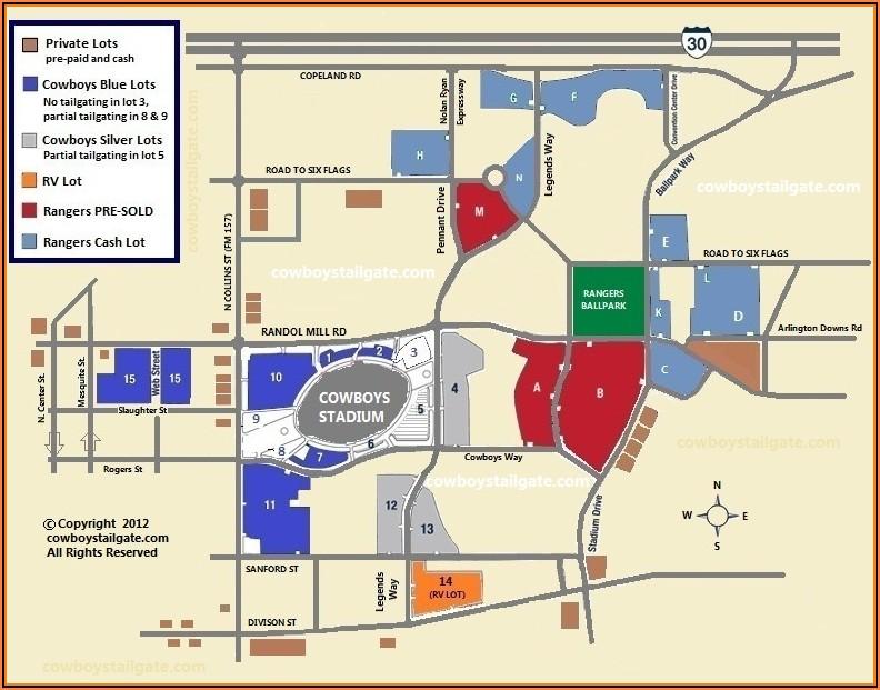 Dallas Cowboys Parking Pass Map