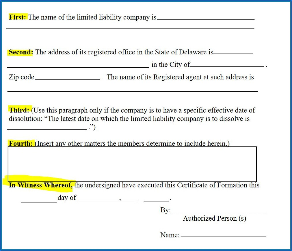 Delaware Llc Formation Forms