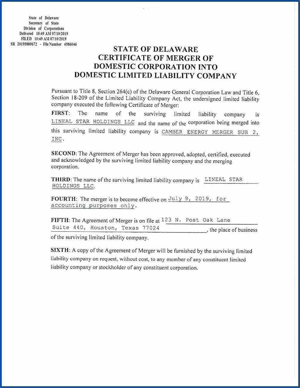 Delaware Llc Merger Forms