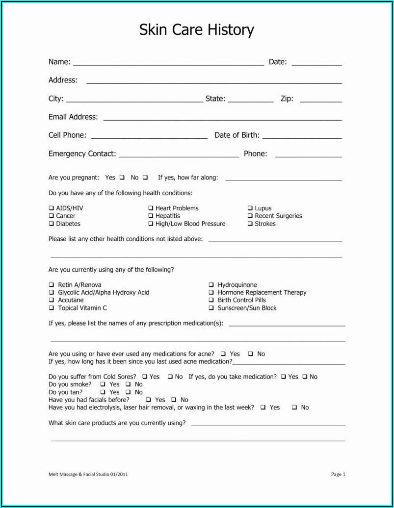 Dermaplaning Consultation Form Uk