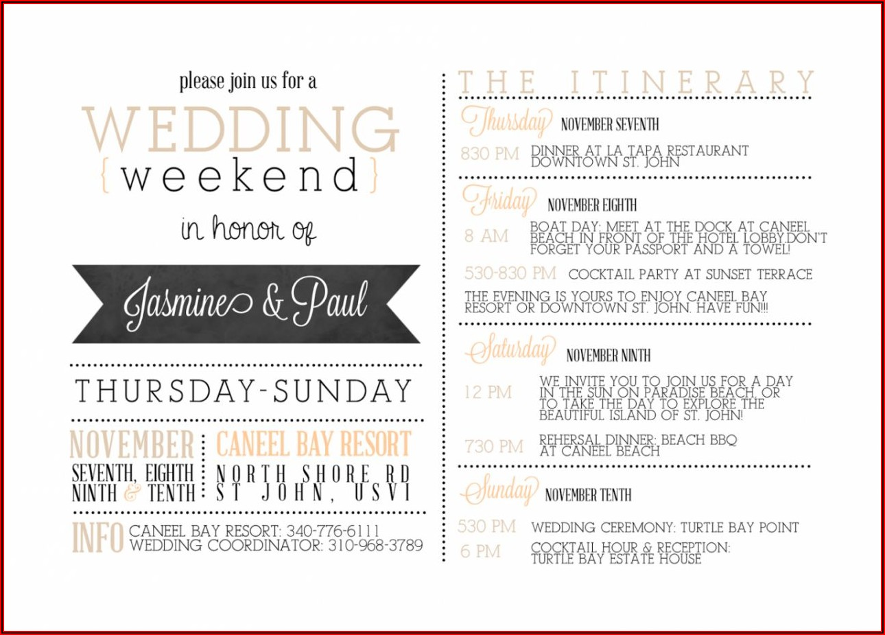 Destination Wedding Itinerary Template