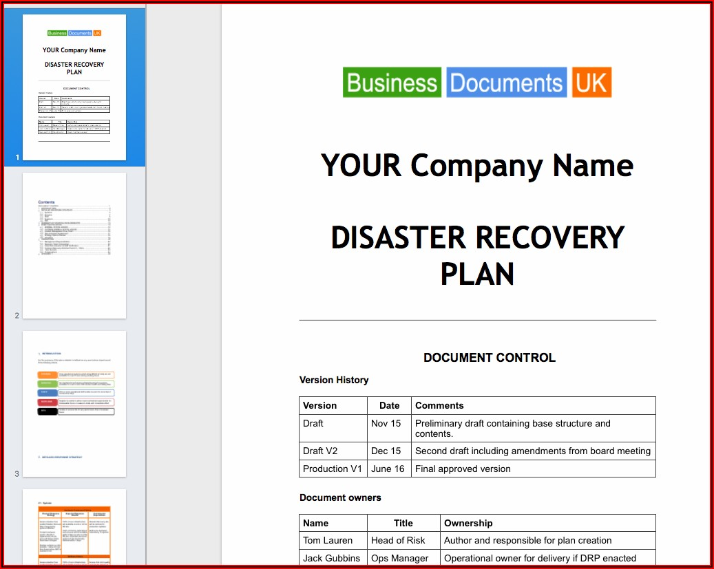 Disaster Recovery And Business Continuity Plan Example