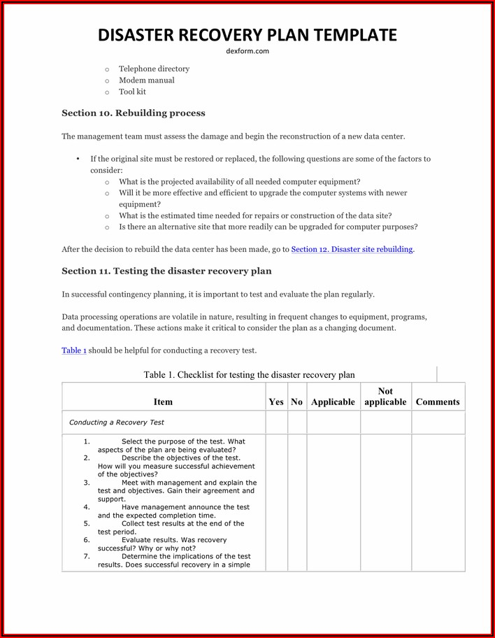 Disaster Recovery Test Results Report Template