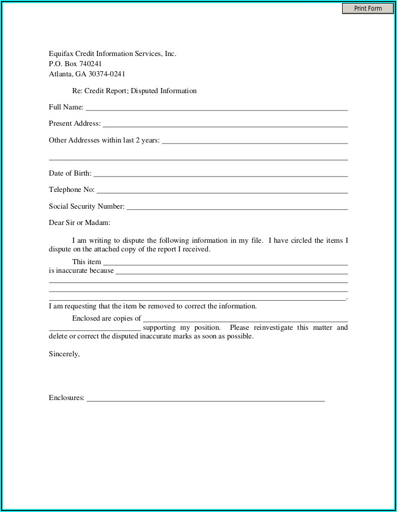 Dispute Form For Equifax