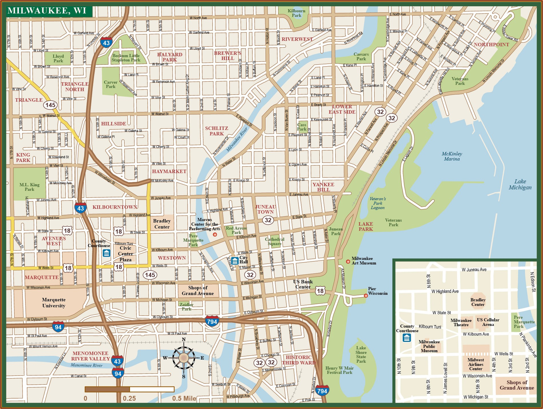 Downtown Milwaukee Hotels Map
