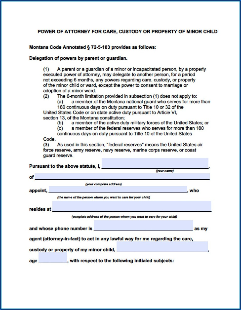 Durable Power Of Attorney Form Montana