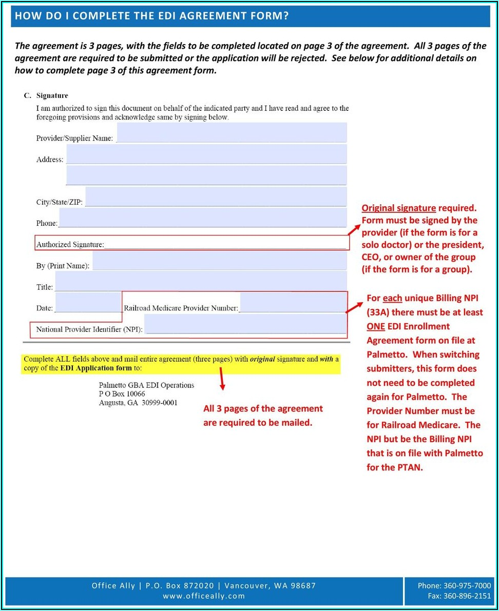 Edi Enrollment Form For Railroad Medicare