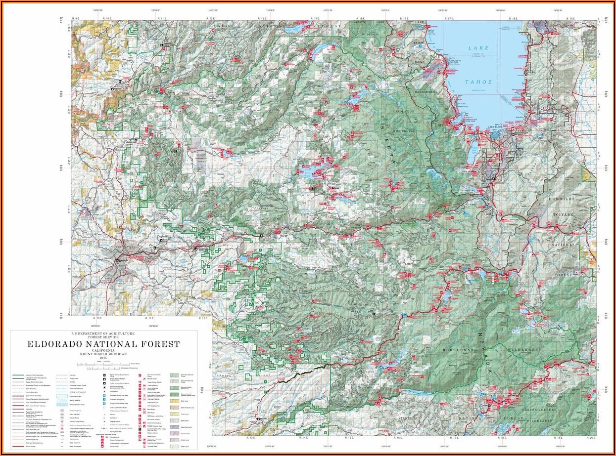 Eldorado National Forest Hiking Trail Map