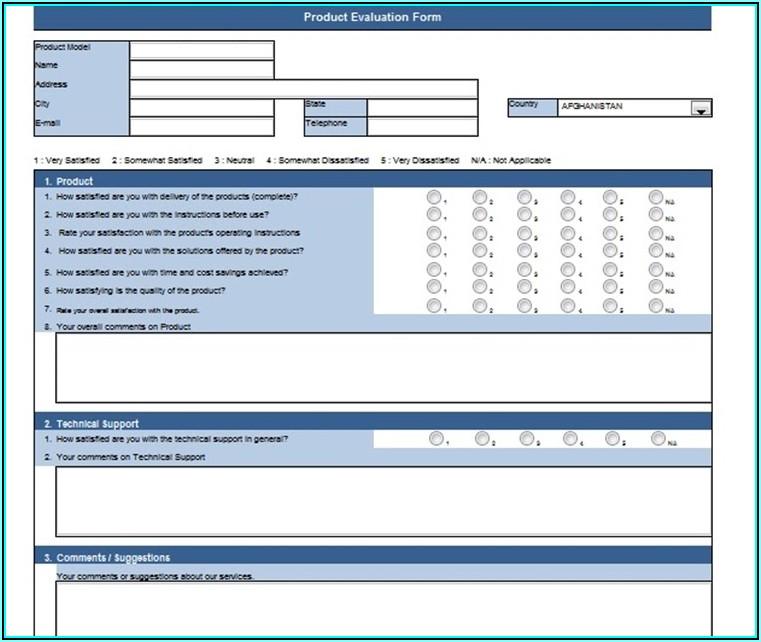 Evaluation Form Templates Free