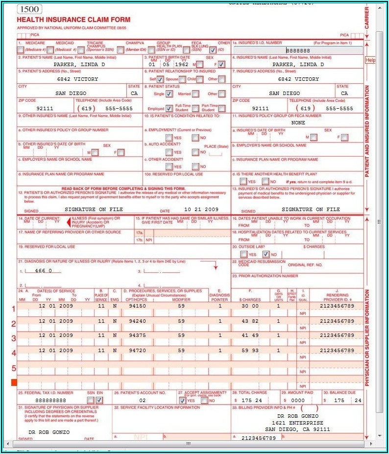 Example Of 1500 Claim Form Filled Out