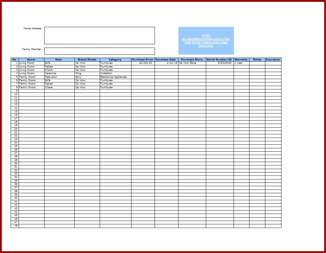 Excel Home Inventory Template With Pictures