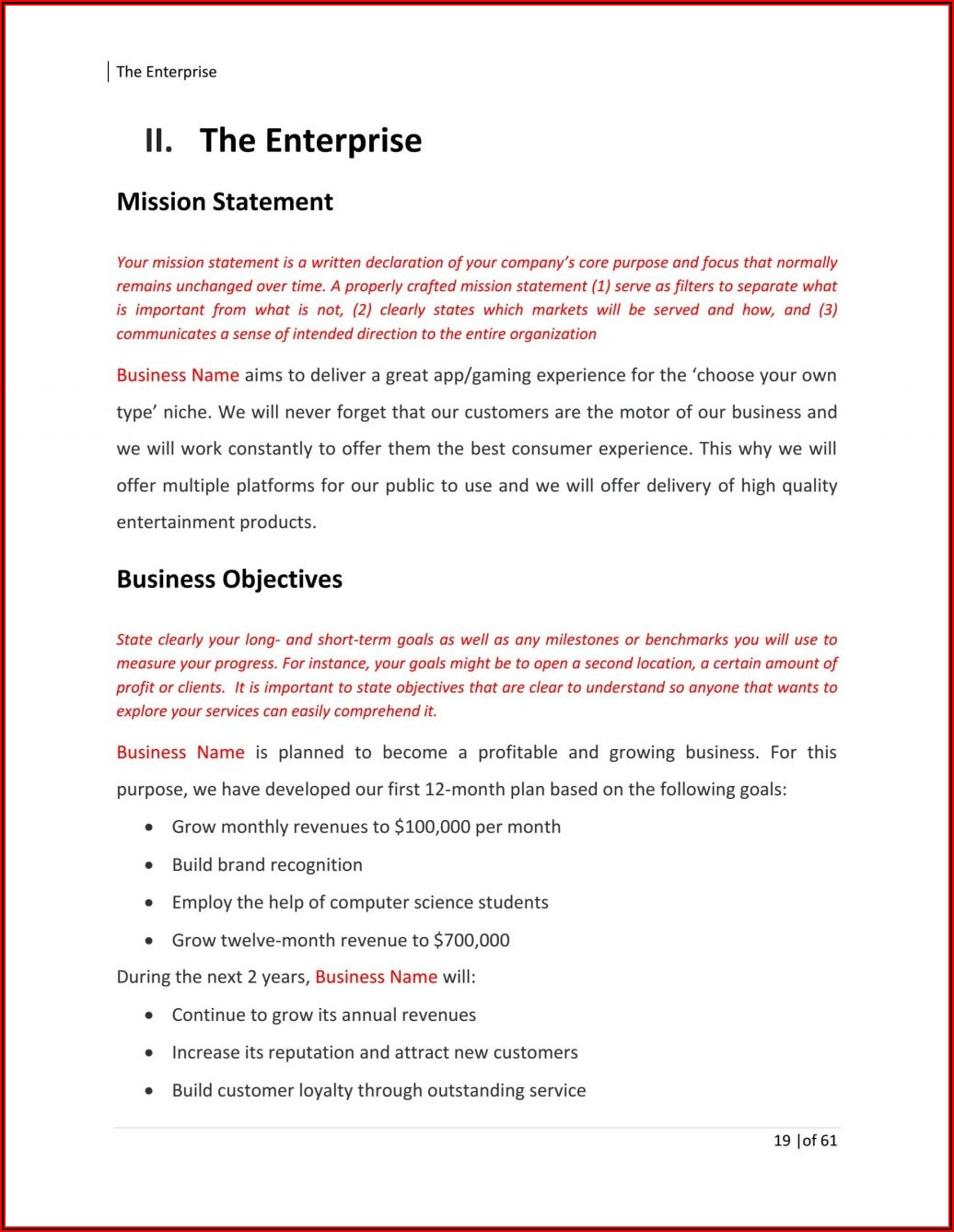 Farming Business Plan Template Word