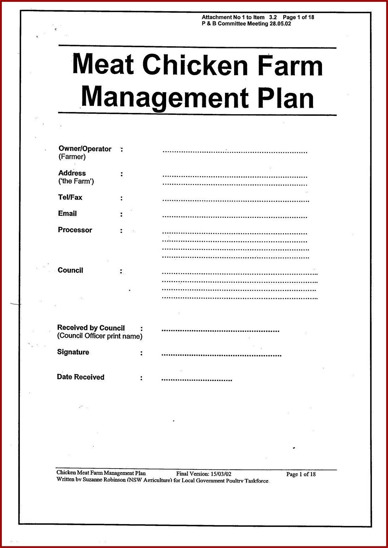 Farming Business Plan Template