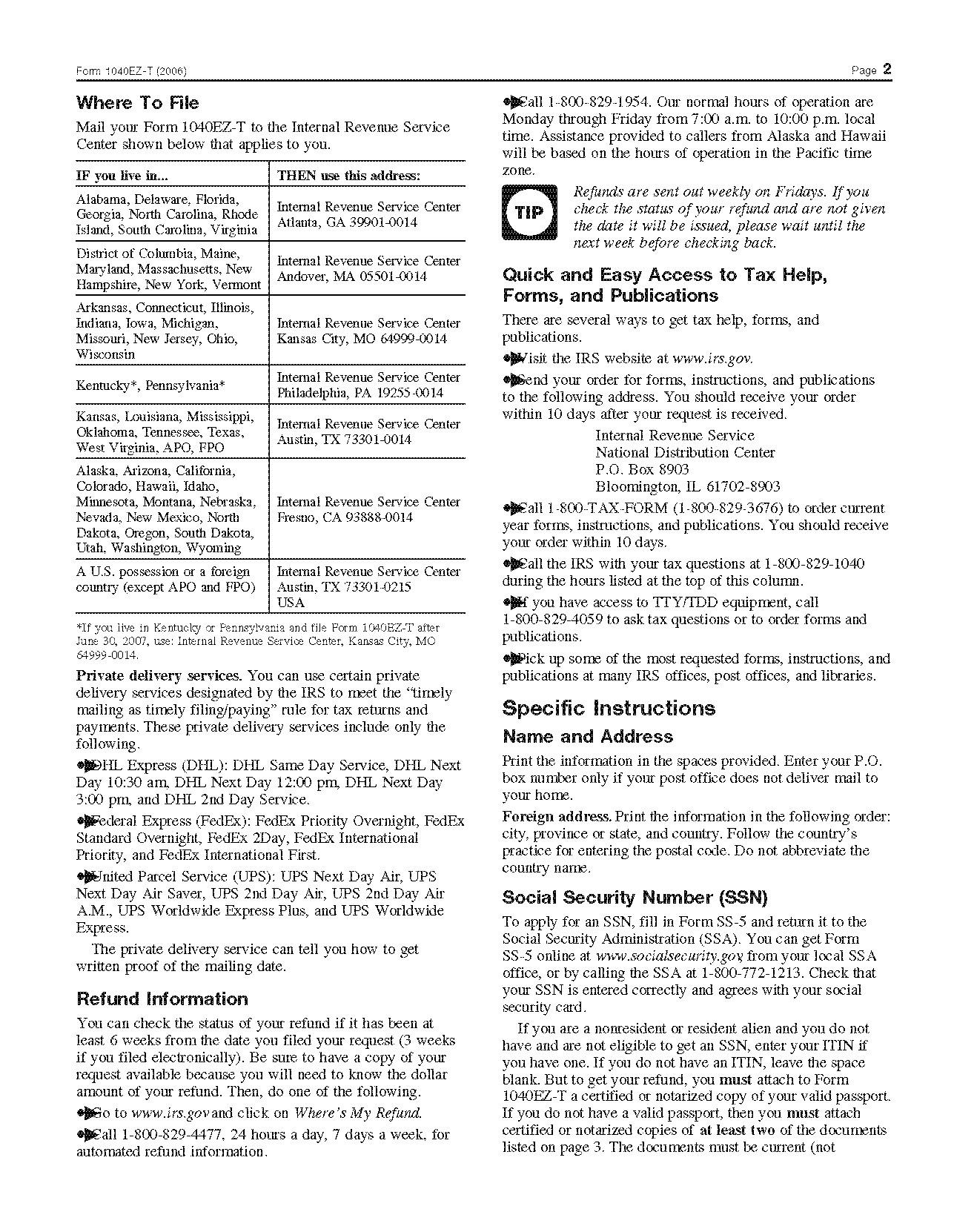 Federal Ez Tax Form