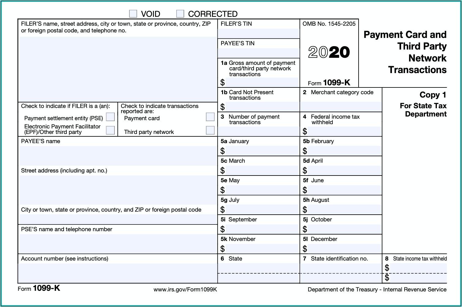 Filing Form 1099 K