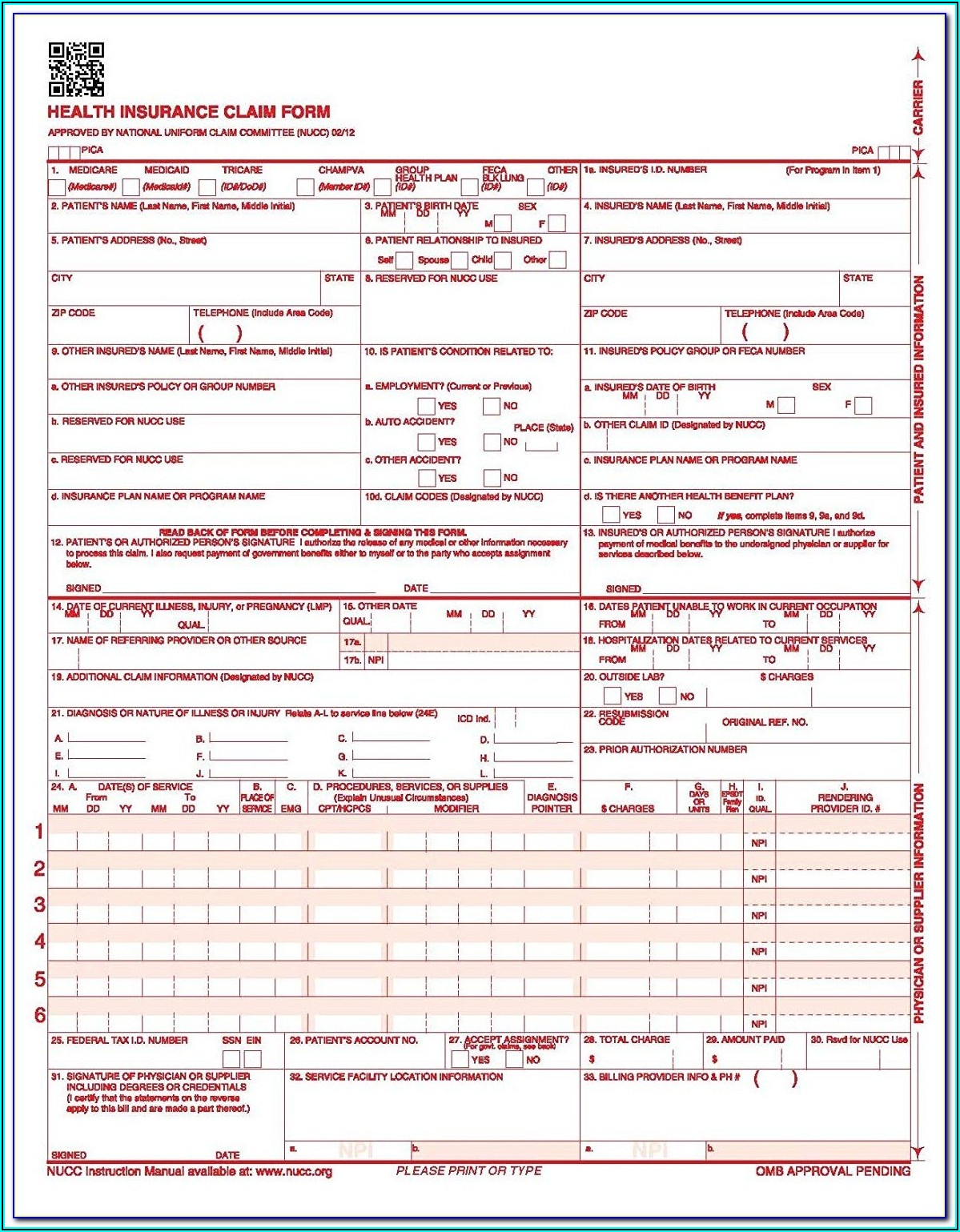Fillable Hcfa 1500 Form
