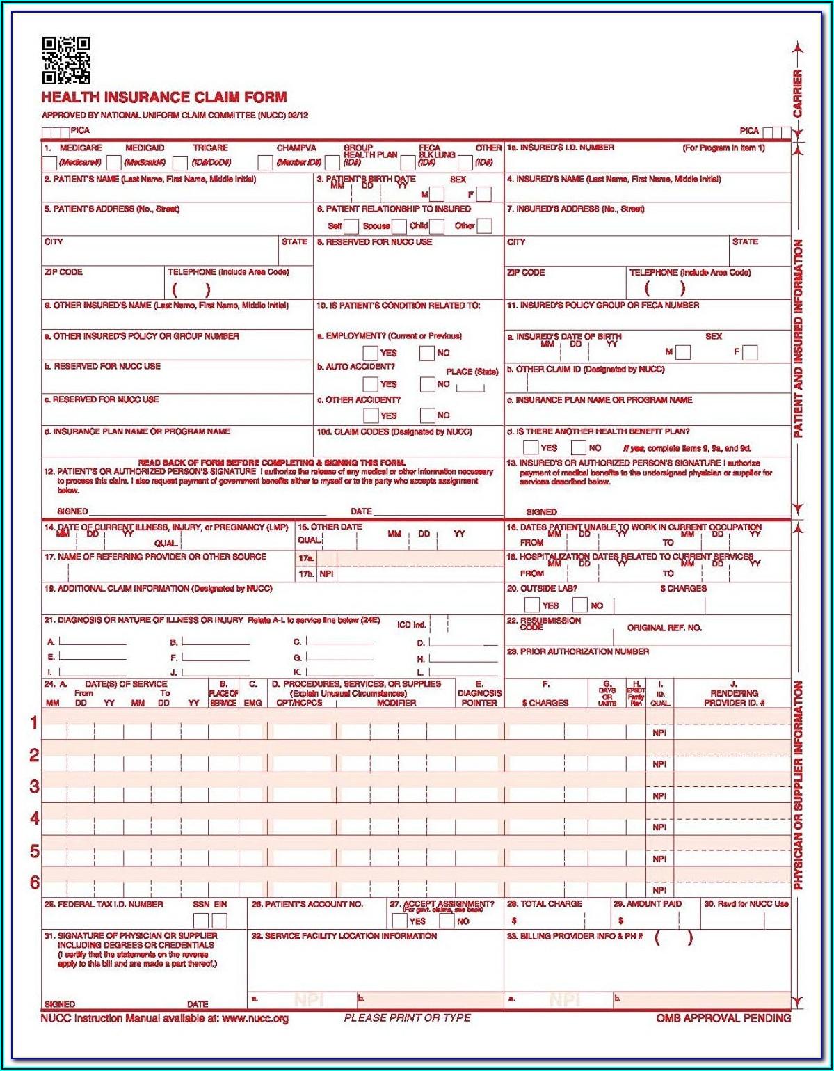 Fillable Hcfa 1500 Form