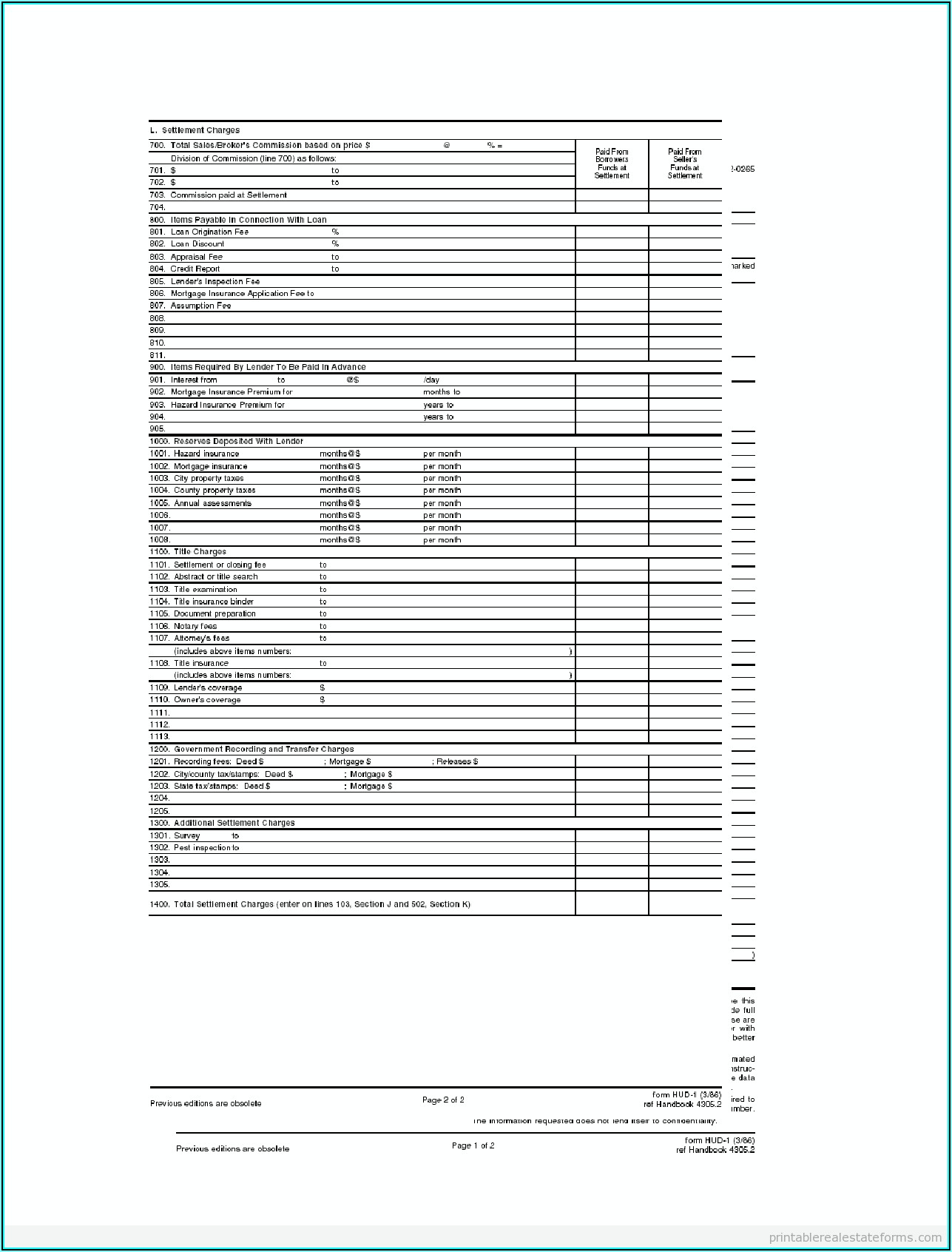 Fillable Hud 1 Settlement Statement Form