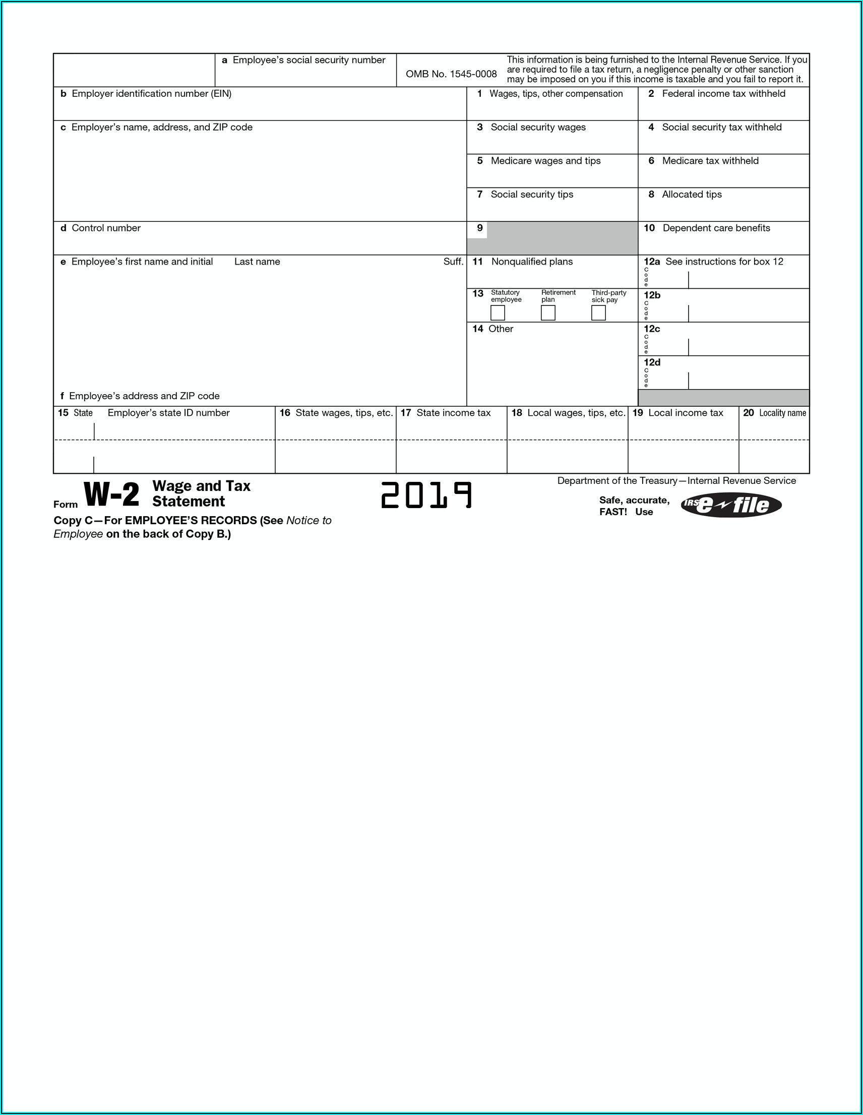 Fillable W2 Form 2019 Free