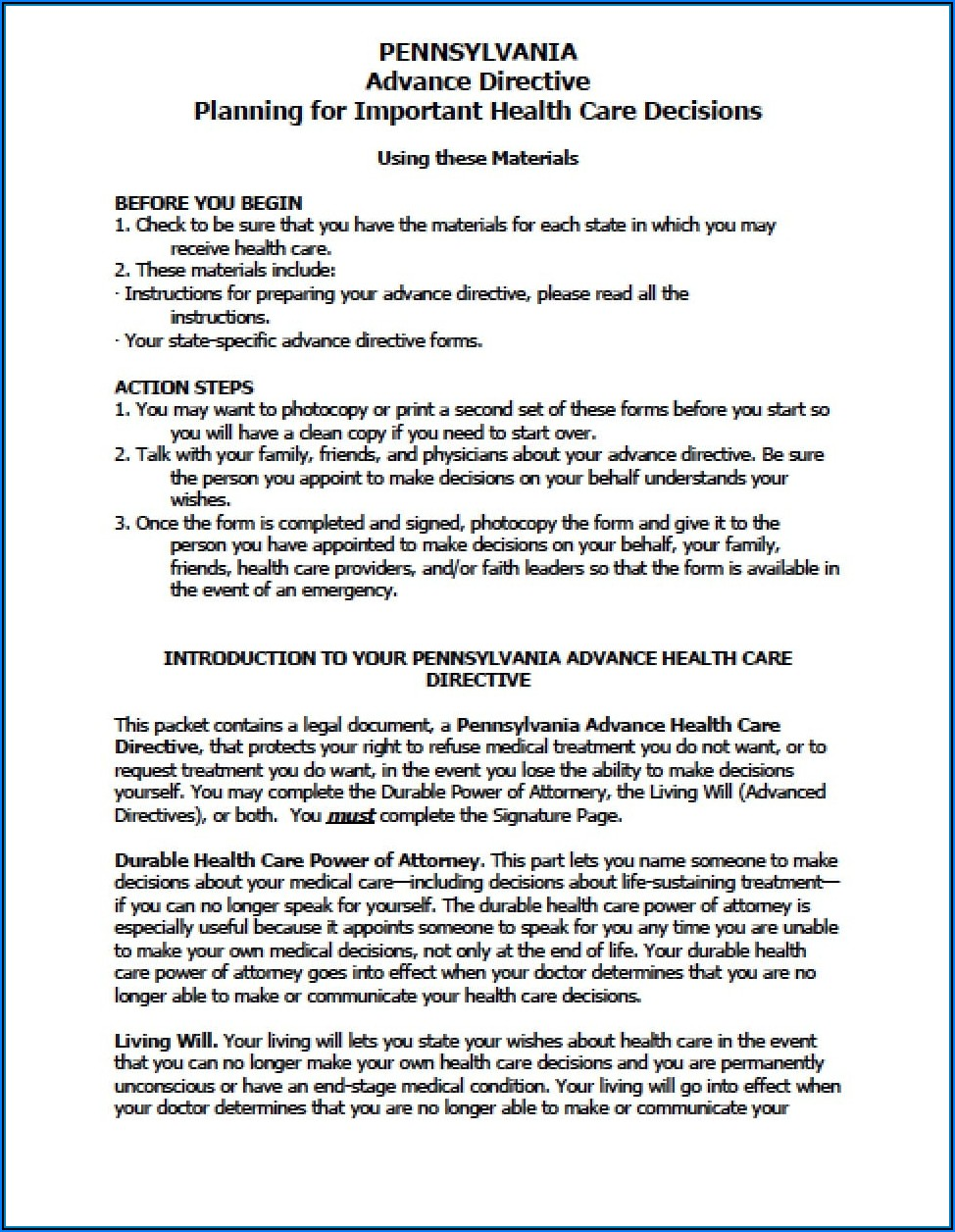 Form For A Living Will In Pennsylvania
