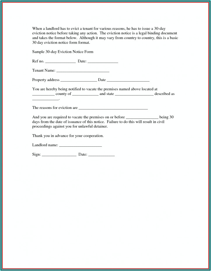 Form For Eviction Notice For Tenant