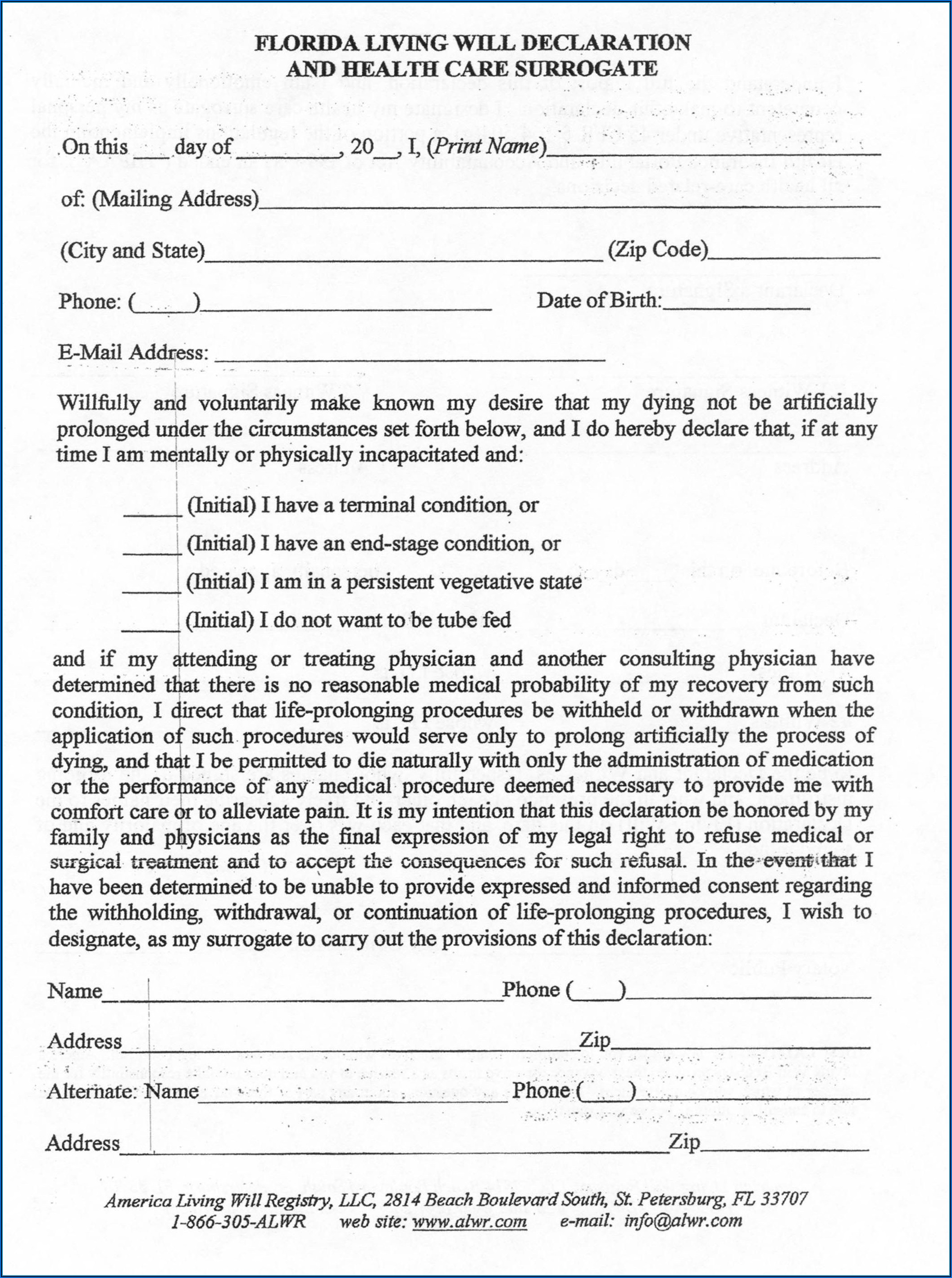 Form For Living Will Florida