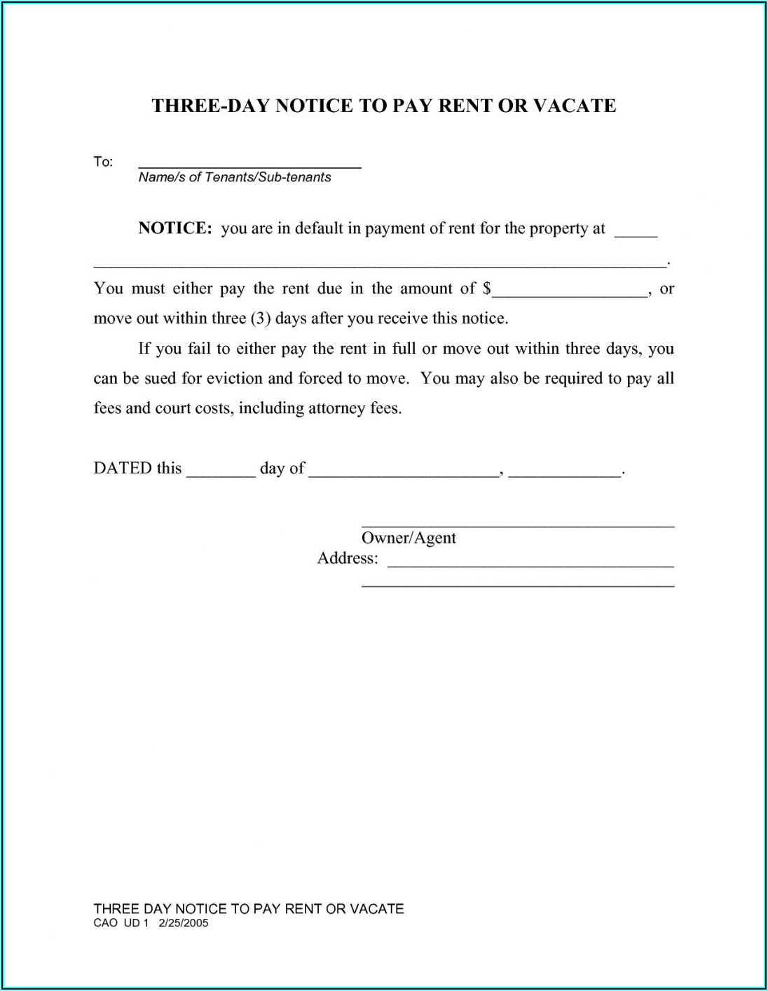 Free 30 Day Eviction Notice Form Texas