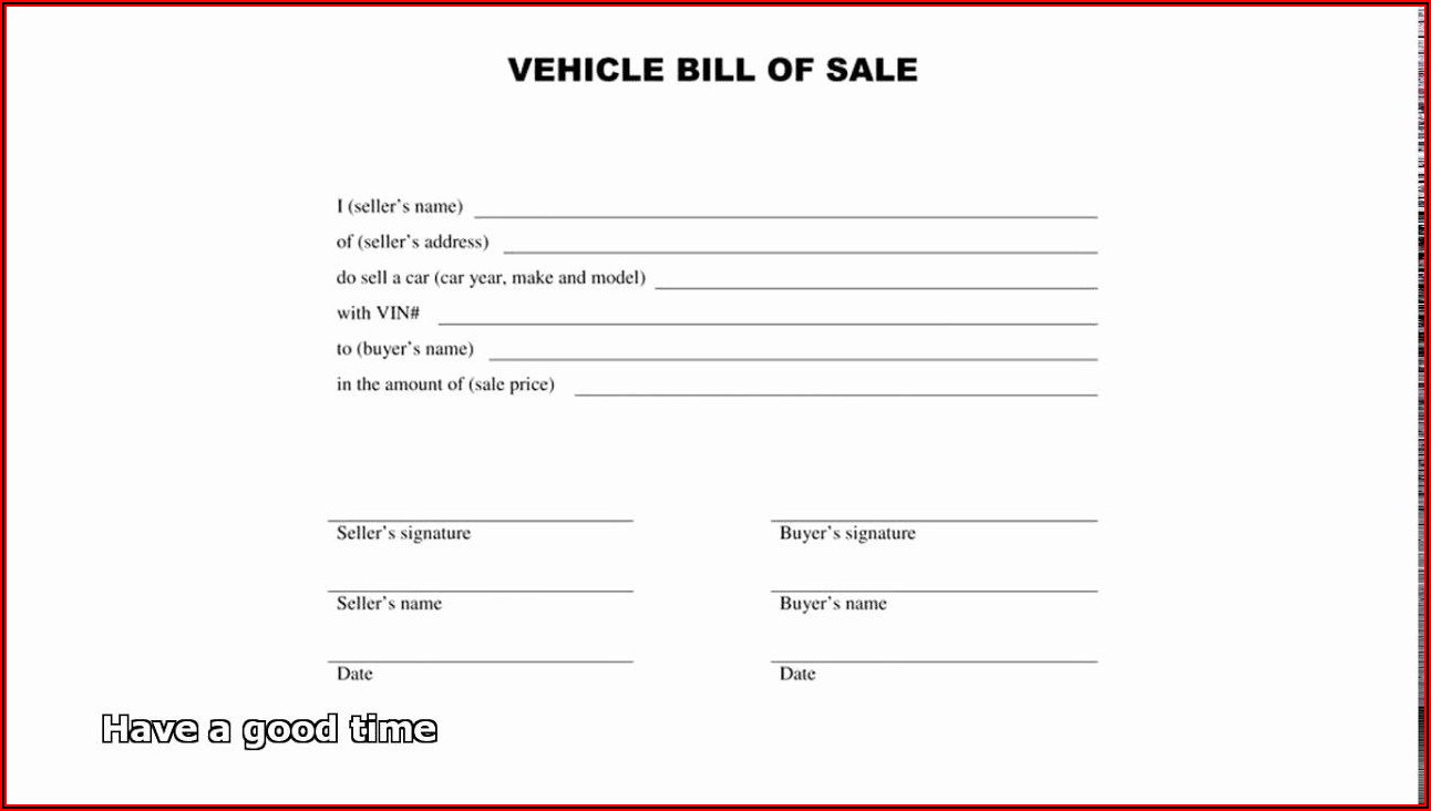 Free Automobile Bill Of Sale Template