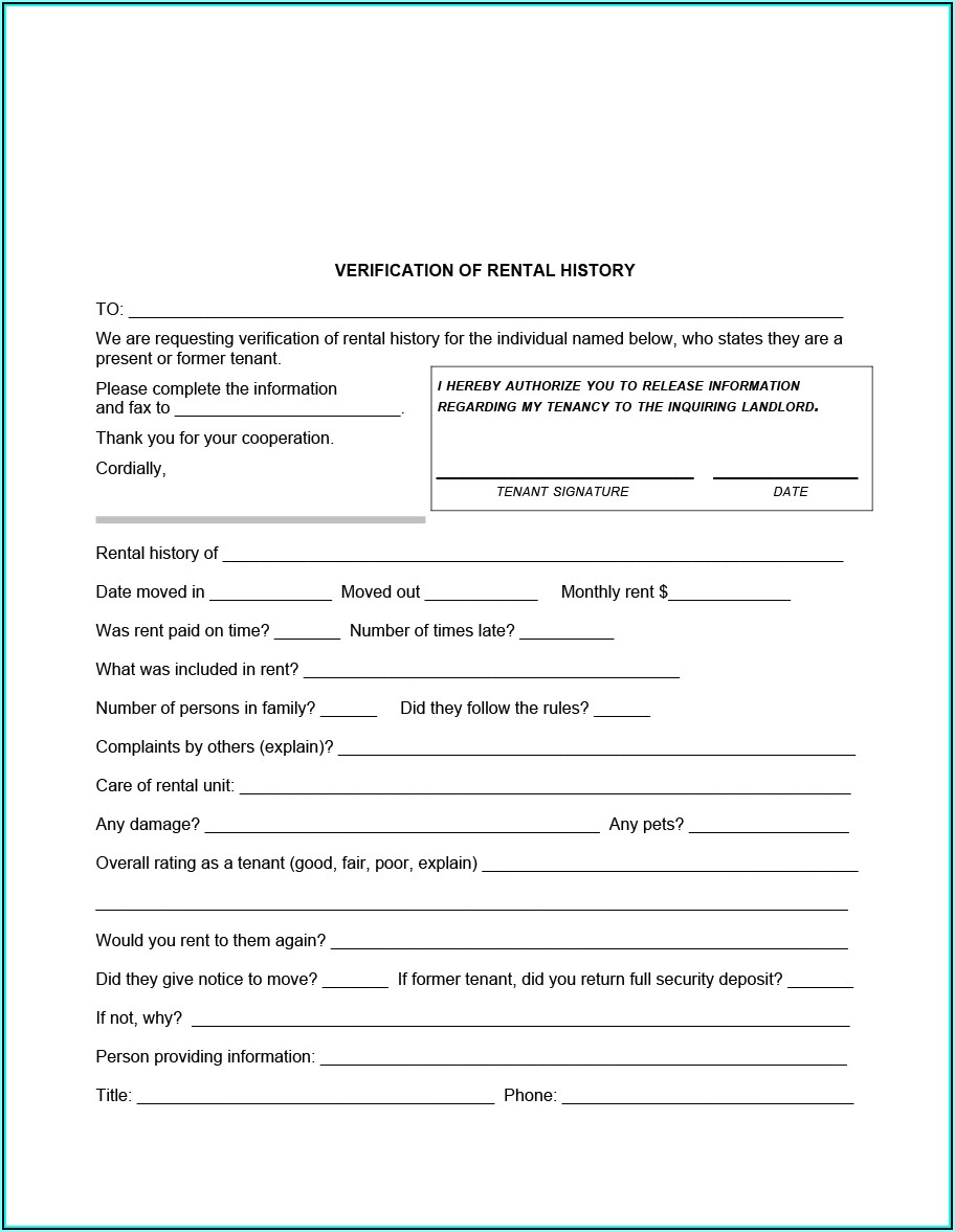 Free Background Check Form For Renters