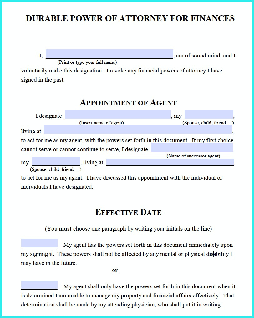 Free Blank Durable Power Of Attorney Forms To Print