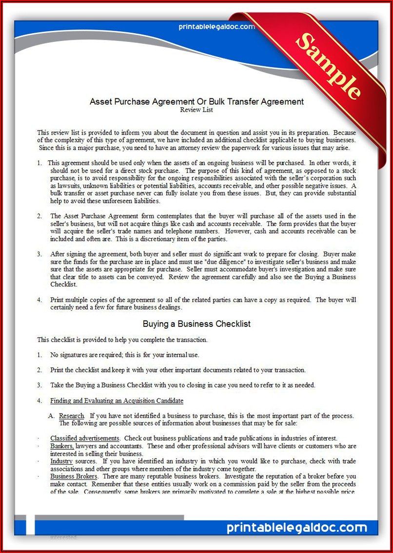Free Business Asset Purchase Agreement Template