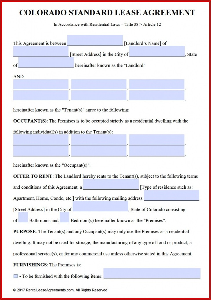 Free Colorado Residential Lease Agreement Template