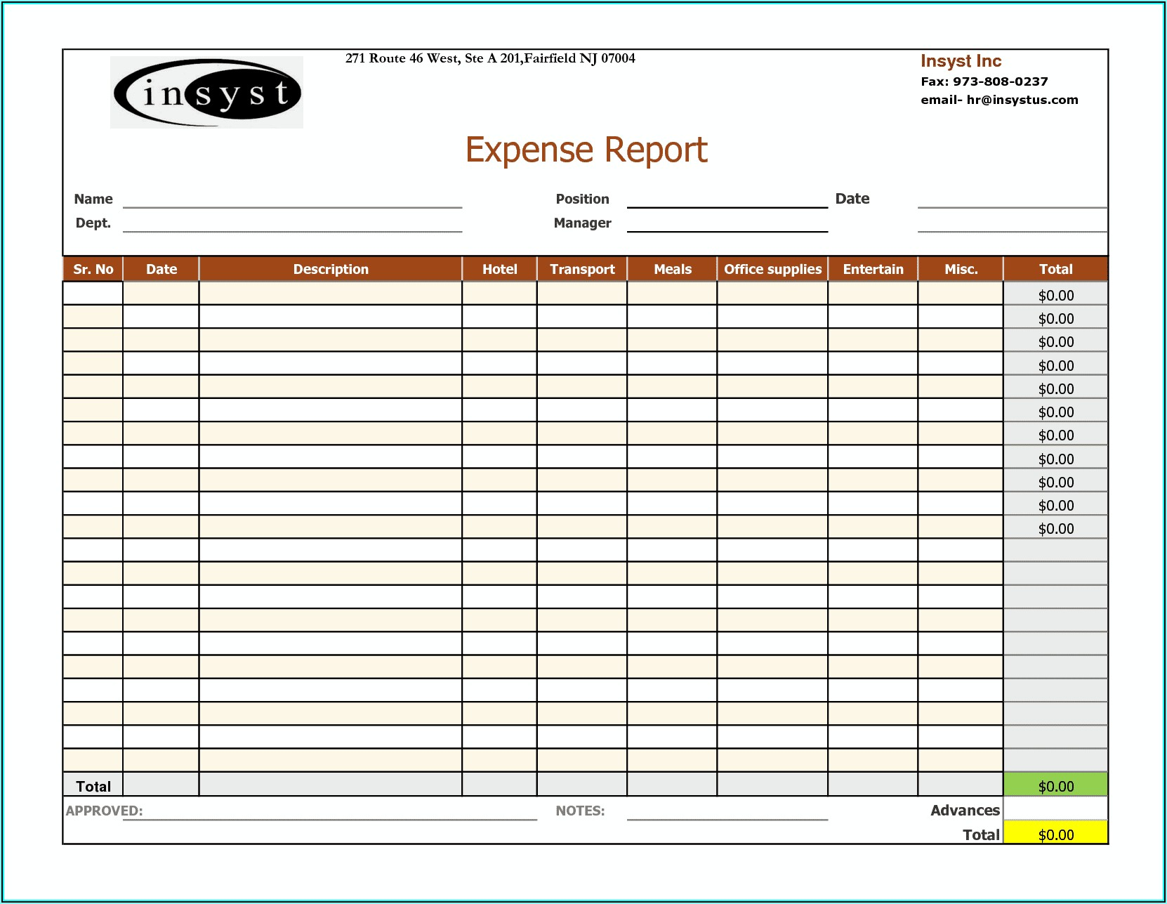 Free Download Business Expense Forms